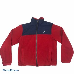 Boys Nautica Red Fleece Zip Up Jacket Size 10/12